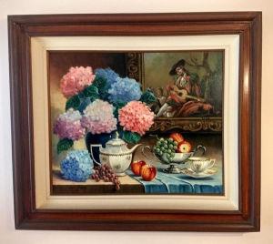 LYDIA ARDENTE  -  OST -  Natureza morta representando uma mesa composta para café da manha e arranjo de flores (HORTÊNSIAS) medidas da tela com moldura 100X87.