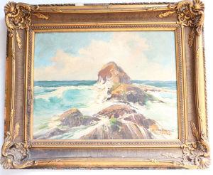 """GASTÃO FORMENTI (1894-1974). """"Prainha - RJ"""", óleo sobre tela aplicado sobre madeira, 34x46 cm. Assinado, datado (1946), moldura dourada. Moldura med. 47x39 cm. Marcas do tempo."""