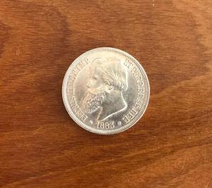 NUMISMÁTICA, Moeda de prata do Brasil Império, 2º reinado D. Pedro II, 1000 reis, 1883, bom estado de conservação.