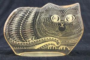 PALATNIK – Escultura cinética representando gato em resina de poliéster de manufatura Abraham Palatnik. Medindo 7 cm de altura por 10,5 cm de comprimento.