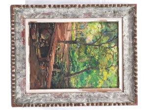 LEITE, VICENTE - ÓLEO SOBRE MADEIRA - Mede 35 X 27 cm a tela e 46 x 37,5 cm com moldura.